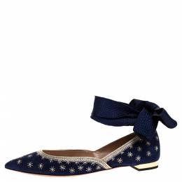 Aquazzura Blue Embroidered Suede Leather Bliss Ankle Wrap Ballet Flats Size 38 313230
