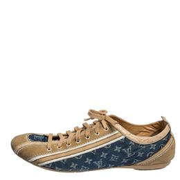 Louis Vuitton Blue/Beige Monogram Denim and Crocodile Impulsion Sneakers Size 40.5 313011