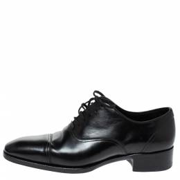Tom Ford Black Leather Gianni Cap Toe Oxfords Size 40 315145