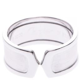Cartier Double C de Carttier Vintage 18K White Gold Wide Band Ring Size 58 313535