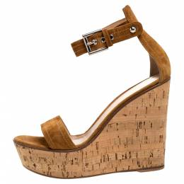 Gianvito Rossi Brown Suede Leather Cork Wedge Platform Ankle Strap Sandals Size 39.5 312840