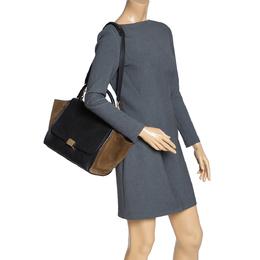 Celine Black/Khaki Leather and Suede Medium Trapeze Bag 315154