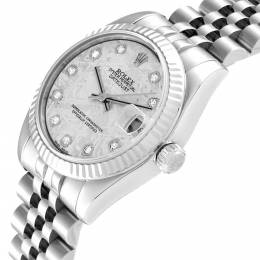 Rolex Datejust Midsize Steel White Gold Meteorite Diamond Watch 178274 Women's Wristwatch 26 MM 314930