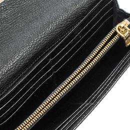 Miu Miu Beige/Black Leather Madras Flap Wallet 312662