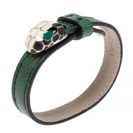Bvlgari Green Leather Enamel Serpenti Forever Bracelet 314337