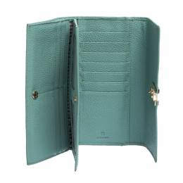 Aigner Mint Green Embossed Leather Genoveva Continental Wallet 312683
