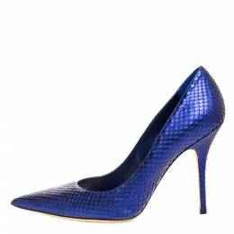 Dior Blue Python Leather Cherie Pointed Toe Pumps Size 39.5 315417