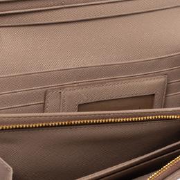 Prada Beige Saffiano Lux Leather Flap Continental Wallet 314452