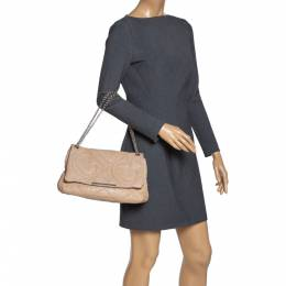 Carolina Herrera Beige Leather Flap Chain Shoulder Bag 313077
