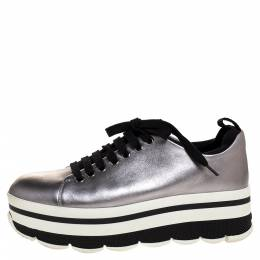 Prada Sport Metallic Silver Leather Lace Up Platform Sneakers Size 37 315091