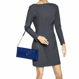 Tory Burch Blue Leather Robinson Envelope Chain Clutch 313810