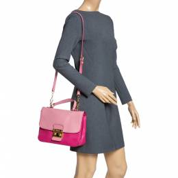 Miu Miu Two Tone Pink Madras Leather Push Lock Flap Top Handle Bag 314040