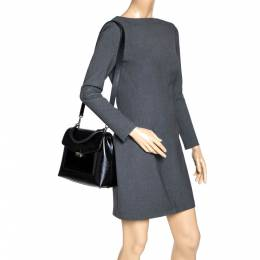 Carolina Herrera Black Monogram Patent Leather Push Lock Top Handle Bag 313240