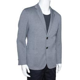Giorgio Armani Monochrome Patterned Knit Upton Blazer XXL 312712