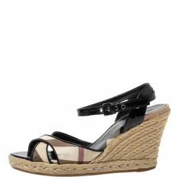 Burberry Black Patent And Novacheck Cross Strap Espadrille Wedge Sandals Size 35 315734