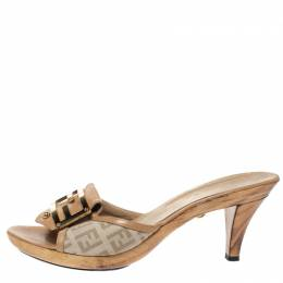 Fendi Beige Zucchino Canvas and Leather FF Buckle Slide Sandals Size 36 313294