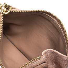Miu Miu Light Pink Leather Madras Zip Wallet 315422