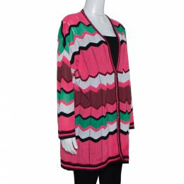 M Missoni Pink Zig Zag Perforated Knit Button Front Cardigan L 315511