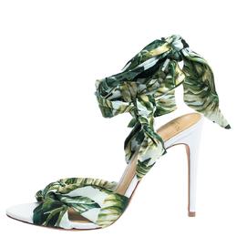 Alexandre Birman Multicolor Leaf Print Fabric Kacey Knot Detail Ankle Wrap Sandals Size 38 315609