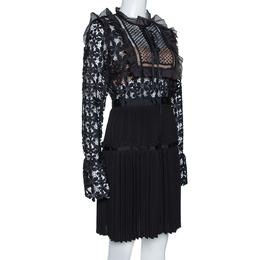 Self-Portrait Black Guipure Lace & Organza Trim Pleated Adeline Dress M 315608