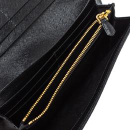 Prada Black Saffiano Lux Leather Bow Continental Wallet 314484