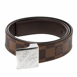 Louis Vuitton Damier Ebene Canvas Logo Buckle Belt 80CM 312734