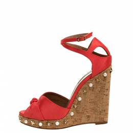 Aquazzura Coral Orange Fabric Harlow Embellished Wedge Sandals Size 37.5 315299