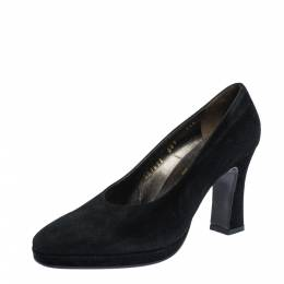 Salvatore Ferragamo Black Suede Platform Block Heel Pumps Size 38 315674