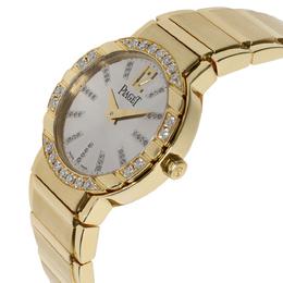 Piaget Silver Diamonds 18K Yellow Gold Polo GOA26032 Women's Wristwatch 28 MM 314651