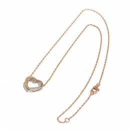Cartier Trinity Heart Diamond 18K Yellow Gold 18K White Gold 18K Rose Gold Pendant Necklace 313143