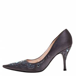 Sergio Rossi Grey Satin Crystal Embellished Pointed Toe Pumps Size 38.5 313855