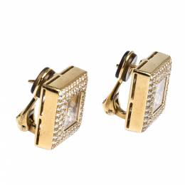 Chopard Happy Diamonds 18K Yellow Gold Square Earrings 313856