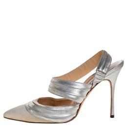 Manolo Blahnik Silver Leather And Grey Grosgrain Alla Pumps Size 37 313857