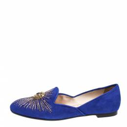Aquazzura Royal Blue Suede Sunlight Embellished Loafers Size 39 315289