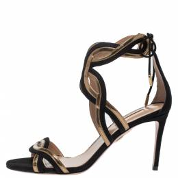Aquazzura Black/Gold Suede and Patent Leather Moon Ray Sandals Size 38 315256