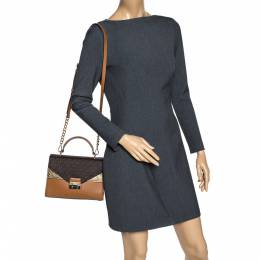 Michael Kors Tri Color Monogram Coated Canvas and Leather Kinsley Top Handle Bag 310385