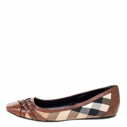 Burberry Brown House Check Canvas and Leather Buckle Ballet Flats Size 39 310542