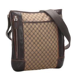 Celine Brown Macadam Canvas Crossbody Bag 311371