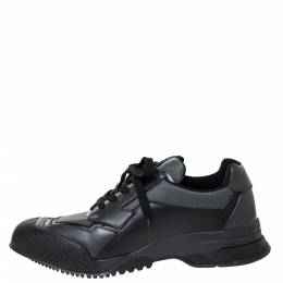 Prada Sport Black Leather And Mesh Low Top Sneakers Size 44 310153