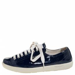 Prada Sport Blue Patent Lace Up Sneakers Size 38.5 312419