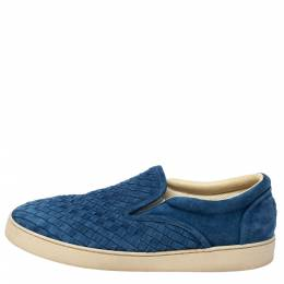 Bottega Veneta Blue Suede Dodger Intrecciato Slip On Sneakers Size 44 310623
