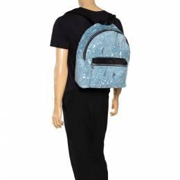 Amiri Wash Blue/Black Paint Denim and Leather Splatter Backpack 308311