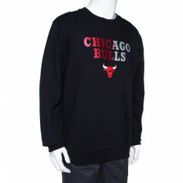 Marcelo Burlon X NBA Black Chicago Bulls Print Cotton Sweatshirt L 308310