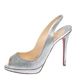 Christian Louboutin Silver Glittered Peep Toe Platform Sandals Size 39 308262