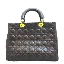 Dior Black Cannage Leather Large Lady Dior Tote Bag 311928