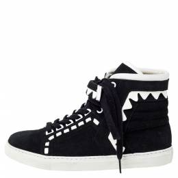 Sophia Webster Monochrome Suede and Leather Riko High Top Sneakers Size 39.5 309731
