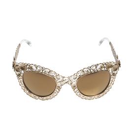 Dolce&Gabbana Gold/Gold Mirrored DG2134 Filigrana Cat Eye Sunglasses 310855