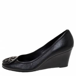 Tory Burch Black Leather Chelsea Wedge Pumps Size 39 310854