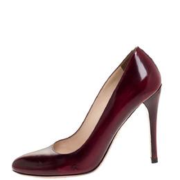 Prada Burgundy/Black Coated Leather Pumps Size 37 312561