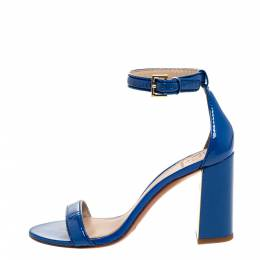 Tory Burch Blue Patent Leather Cecile Block Heel Ankle Strap Sandals Size 37 312560
